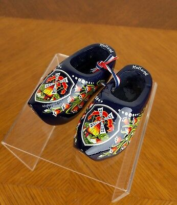 VTG Blue Miniature Wooden Dutch Shoes Clogs Holland Souvenirs Hand Painted Cute