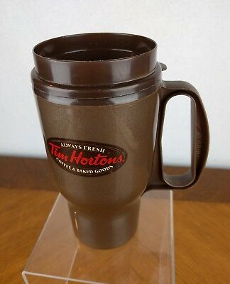 Tim Horton's Brown Plastic Travel Coffee Mug Tumbler Tea Aladdin USA Cup Hipster