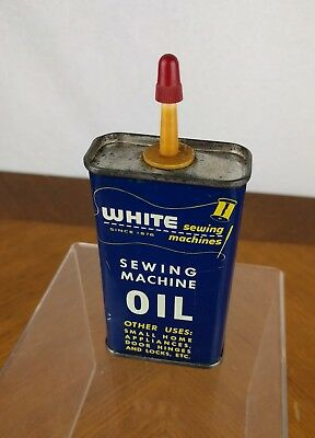 VTG White Sewing Machine Oil Can Litho Metal USA Handy Oiler Advertising Tin