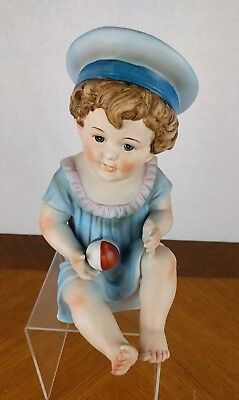 VTG Hand Painted Piano Baby Figure Boy Bisque Porcelain Hat Ball Doll Baby Blue