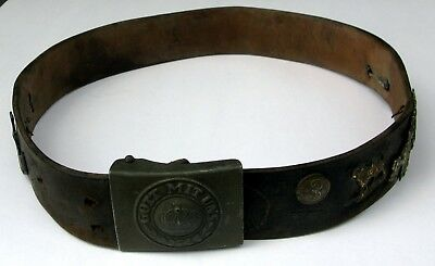 Genuine WWI German GOTT MIT UNS Buckle with Belt & Collection of Pins Insignia