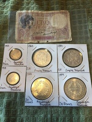 Français Empire 5 F 1868 And 1870 Silver Coin Lot 1977-1979 50 FR And 1917-1915