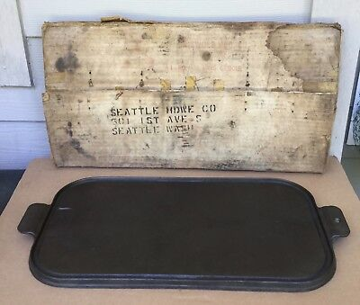 """Vtg Griswold 133 Cast Iron 17"""" Long Griddle w/ Orig Box SEATTLE HARDWARE Co WOW!"""