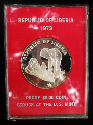 Liberia 5 Dollars KM 29 .900 Silver Coin in Plastic Case 0.9867 Troy Oz ASW