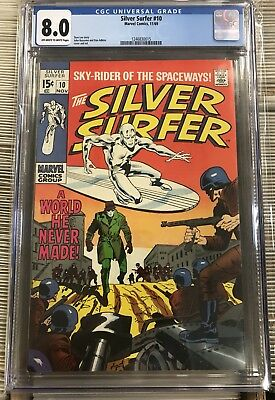 """Silver Surfer 10 CGC 8.0 """"A World He Never Made""""Surfer goes Incognito / Stan Lee"""