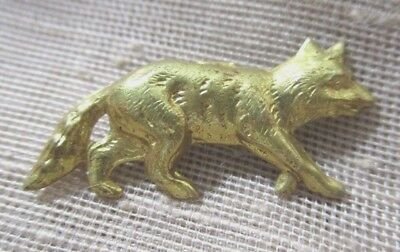 Vintage Realistic Gold Brass Walking Fox Button --  1 Inch