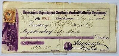 Antique Defunct Railroad Northern Central Railway Paper Check Posted Cashed 1866