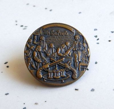 Vintage We The People Constitution Second Amendment NRA Bronze Patina Lapel Pin