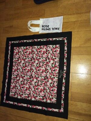 Paul Smith PARFUMS roses cotton scarf/neckerchief/bandana  60 x 62 cm & Dust Bag