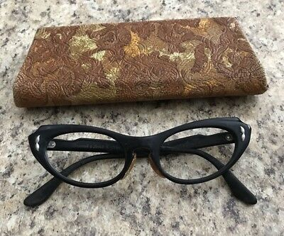 Bausch And Lomb 1950s 60s Black Cat eye Frames With Case