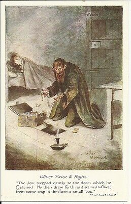 Rare Judaica, Postcard, Fagin Illustration And Quote from Oliver Twist