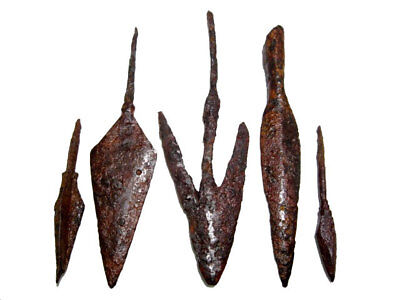 LOT OF 5pcs. ANCIENT IRON ARROW HEADS, BROAD  VARIETY and GOOD CONDITION!!!