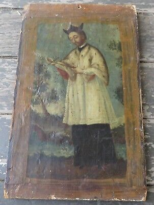 Antique Religious Painting on Board San Miguel Mission Santa Fe New Mexico Santo