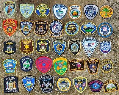 Vintage Mixed Lot Of 35 POLICE SHERIFF Law Enforcement Patches Patch Lot MINT!