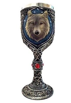 Wolf Head Wine Goblets Ossuary Chalice Resin Body & Stainless Steel Liner