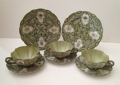 Hand Painted Lenwile China Green Ardalt Green Moriage 8Pc Cup, Saucer, Plate Set