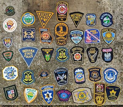Vintage Mixed Lot Of 36 POLICE SHERIFF Law Enforcement Patches Patch Lot MINT!