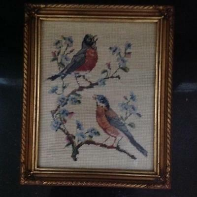 Petit Point Bird on a Flowering Branch with Antique Gold frame