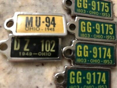1948 1949 1953 Ohio License Plate`disabled American Veterans`dav Pair Fob