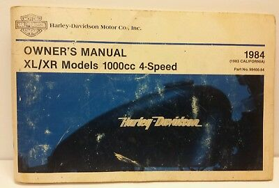 1984 1983 Harley Davidson Motorcycle XL XR 1000cc 4 Speed Owner's Owners Manual