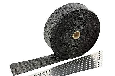"""2""""x50' Motorcycle Exhaust Heat Wrap Heat Shield Sleeve with Stainless Steel Zip"""