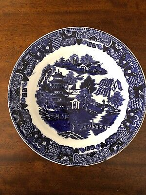 Vintage Blue And White Willow Design Plate