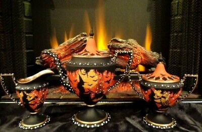 VINTAGE PAIRPOINT HALLOWEEN WITCH'S SILVER PLATE PEDESTAL TEA SET HP by Peggy G