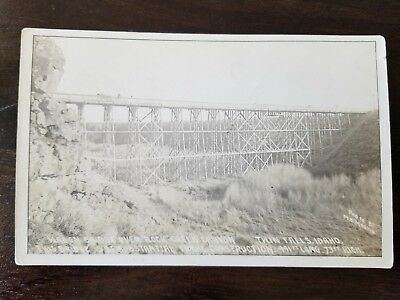 Circa 1910 Wagon Bridge Over Canyon Twin Falls Idaho Real Photo Postcard RPPC