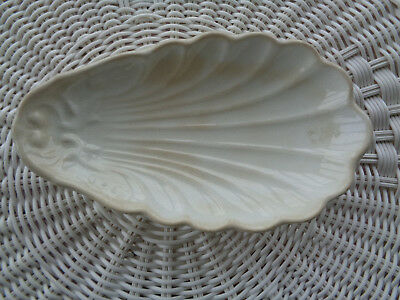 Royal Ironstone China ~ Relish Soap Trinket Dish ~ Scallop Shell White Floral