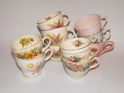 Lot x 10 Vintage Tea Cups * Pink Floral Sprays Bouqets * Pretty Lot