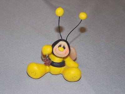 Bumble Bee With Flower Mini Hand Made (Clay) Collectible