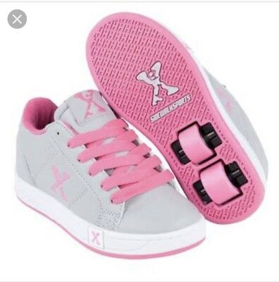 X Sidewalk Girls Grey And Pink Sports Shoe With Wheels Size US4 Or EU36
