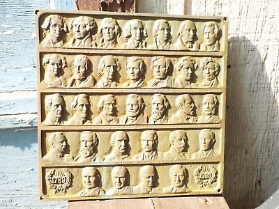Bronze Presidential Wall Plaque 1789-1933 Past United States Presidents
