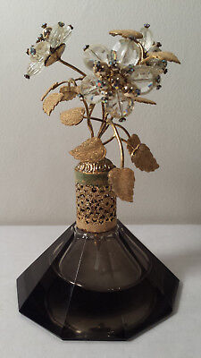 irice rice cut crystal perfume bottle beads and Germany bead flowers top