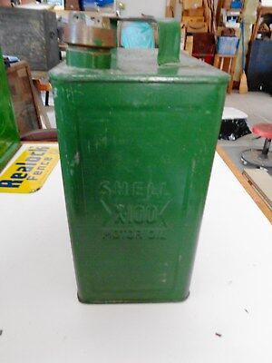 SHELL Gas Oil Can 2 Gallon Embossed X-100 & Shell Vintage Antique Org. Brass Cap