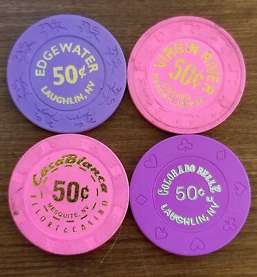 Lot of 4 Vintage fractional Casino Chips from various casinos