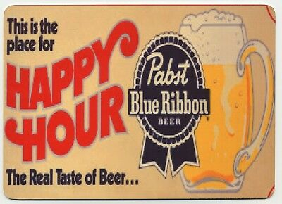 Pabst Blue Ribbon Happy Hour METAL Beer Sign - PBR Bier