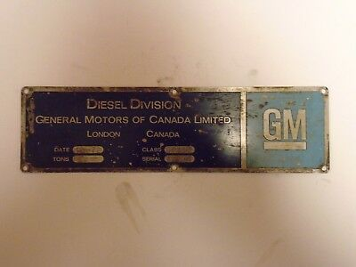 Locomotive Builders Plate  General Motors Of Canada  Serial# A2686 Cn 5513