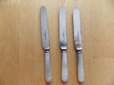3 Antique Meridian Cutlery Silver Plate Knives with Mother of Pearl Handles