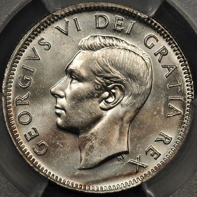 1950 Pcgs Ms64 Canada 25 Cents