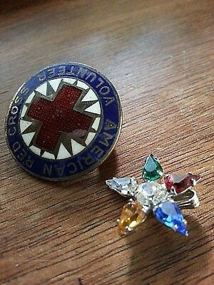 Antique Vintage Sterling Silver Red Cross Pin + Floral Pendant *8 Grams