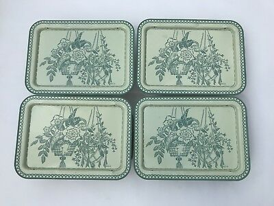 Set Of 4 Vintage LaVada TV Trays Folding Lap Bed Flowers Green Metal Retro
