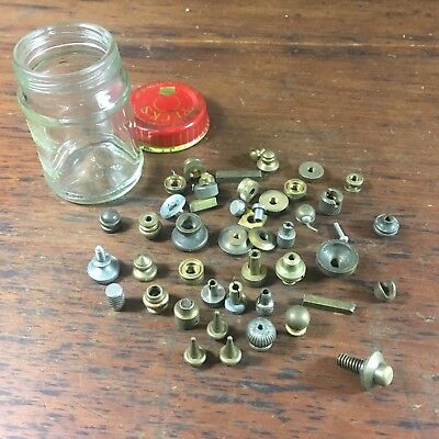 VINTAGE LOT x50 ASSORTED CLOCK & WATCH BRASS CROWNS & NUTS VARIOUS TOOLS SCREWS