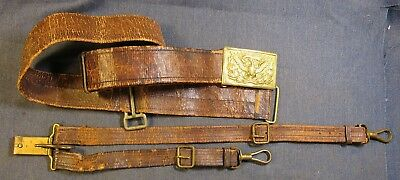 Eagle Plate on Brown Leather 1902 Regulation Field belt