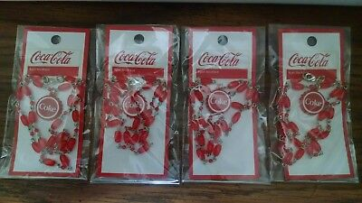 Lot Of 4 Coca-Cola Coke Necklaces Charm Pendant. New In Packages