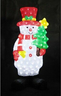 XEPA 35 in. Decorative Snowman with Tree Sculpture LED Light