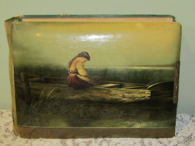 Antique Celluloid Photo Album With Old Photos Painting of Girl in Boat on Front