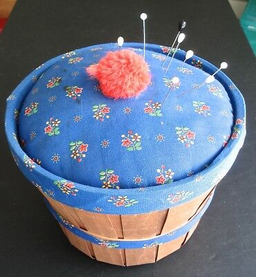 Vintage Sewing Basket Pincushion Lid Blue Fabric Lining Tray Insert Notions