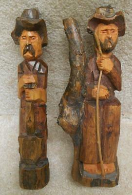 """2 Antique / Vintage Hand Carved Wood Farmers - 9"""" tall"""