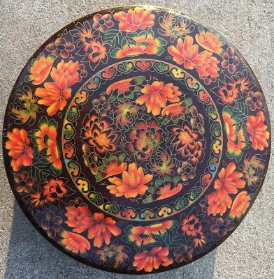 "Vtg Halloween Fall Floral Daher Round Tin England Orange Brown Green Lid 8"" Wide"